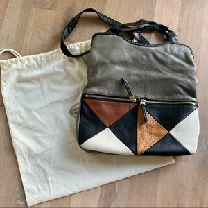 FOSSIL Leather Fold-Over Crossbody Tote bag purse
